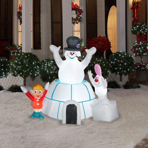 Christmas Decoration Lawn Yard Inflatable Airblown Frosty The Snowman In An Igloo With Karen And Rabbit 5' Tall front-318295