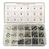 Stainless Steel Set Screw Assortment with Internal Hex Drive and Cup Point (220 Pieces), Inch, With Case