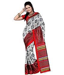 Pruthu Art Silk Sari with Blouse Piece (pas_elizabeth_White_Green)