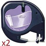 2 x Schriftband kompatibel für Dymo LetraTag 12267 / S0721530 (12mm x 4m) schwarz auf transparent, Kunststoff