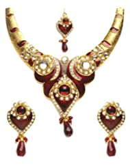 Shining Diva Pretty Kundan Necklace Set With Maang Tika For Women