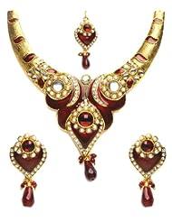 Shining Diva Pretty Kundan Necklace Set With Maang Tika For Women