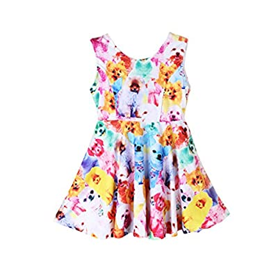 EITC Girls Classical Printed Animals Sleeveless Summer Dress