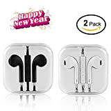 Wired Earphones,In Ear Earbuds Sport Headset Stereo Headphones Remote Volume Control with MIC Noise Cancelling Light Weight 3.5mm Jack White/Black (2 Pack)