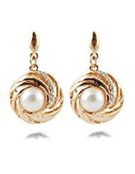 Silver Shoppee Golden Bling Rhodium Plated Cubic Zirconia And Pearl Studded Alloy Earrings