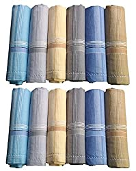 Handkerchief for Mens, Color Rumal (12pc Pack) 41x41 Cm - By XYZ Textiles - Promo Pack