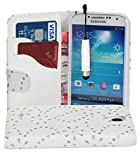 Connect Zone® White Diamond Bling PU Leather Side Wallet Flip Case For Samsung S4 i9500 + Screen Protector + Polishing Cloth & Mini Touch Screen Stylus