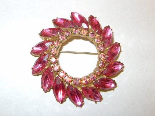 Vintage - Pink Rhinestone BROOCH - Jewelry