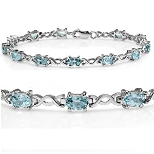 7 1/2 ct Sky Blue Topaz Infinity Tennis Bracelet set in Sterling Silver ( 7.5 inches)