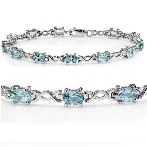 7 1/2 cttw Blue Topaz Infinity Tennis Bracelet set in Sterling Silver ( 7.5 inches)