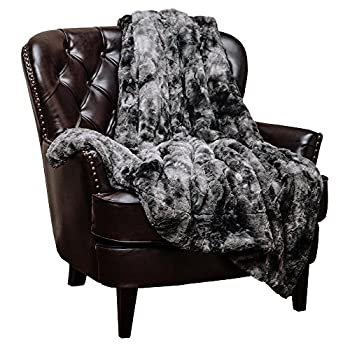 Chanasya Super Soft Fuzzy Fur Faux Fur Cozy Warm Fluffy Beautiful Color Variatiion Print Plush Sherpa Dark Gray Fur Throw Blanket -Charcoal Gray Waivy Fur Pattern