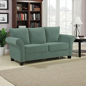 Portfolio Provant Turquoise Blue Velvet Loveseat Modern Transitional Sofa Living Room Settee Comfortable Cushioning