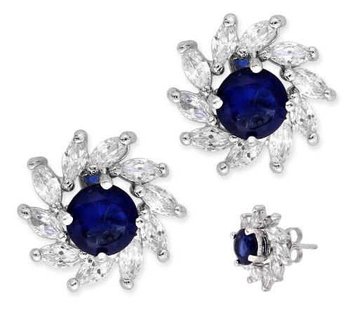 Prong Set Round C.Z. Sapphire Marquise Diamond Silver Stud Earrings (Nice Holiday Gift, Special Black Firday Sale)