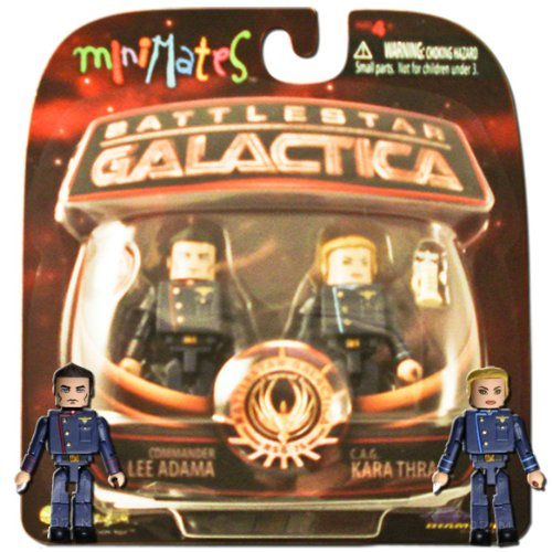 Battlestar Galactica Modern Minimates 2-Pack Series 3 CAG Kara Thrace & Commander Lee Adama by Diamond Select - 1