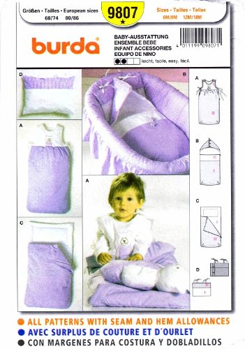 Burda 9807 Sewing Pattern Infants Accessories Bunting Bag Pillow front-595360