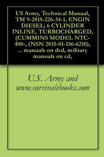 US Army, Technical Manual, TM 9-2815-226-34-1, ENGIN DIESEL; 6 CYLINDER INLINE, TURBOCHARGED, (CUMMINS MODEL NTC-400-, (NSN 2815-01-156-6210), military ... manuals on dvd, military manuals on cd,
