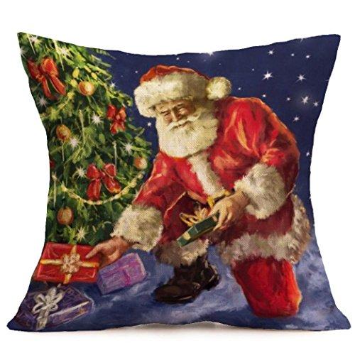 [Gotd Xmas 18 x 18 Cushion Cover Festival Christmas Santa Claus Decorative Christmas Throw Pillow Cover Pillowcase Cushion for Sofa Christmas Gifts] (Unique Santa Costumes)