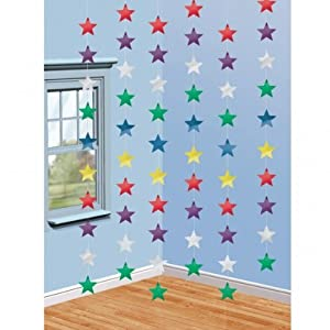 Hanging Strings of Multi Colour Stars Decorations x 6