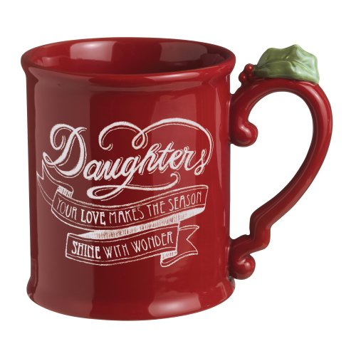 """Grasslands Road Holiday 4-Pack """"Daughters"""" Ceramic Mug, 16-Ounce, Red"""