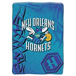 "New Orleans Hornets NBA Royal Plush Raschel Blanket (Fierce Series) (60""x80"")"
