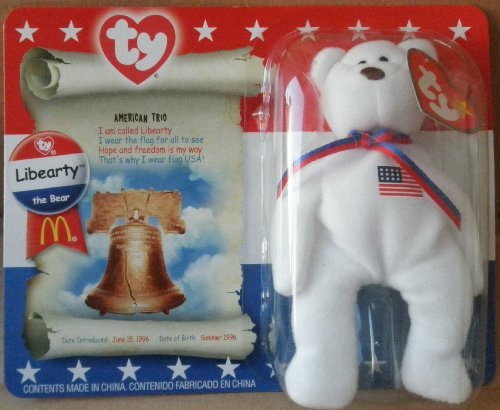 1 X TY Teenie Beanie Babies Libearty Teddy Bear Stuffed Animal Plush Toy