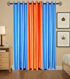 Indian Online Mall Plain Door Curtain (Pack of 2), Sky Blue and Orange