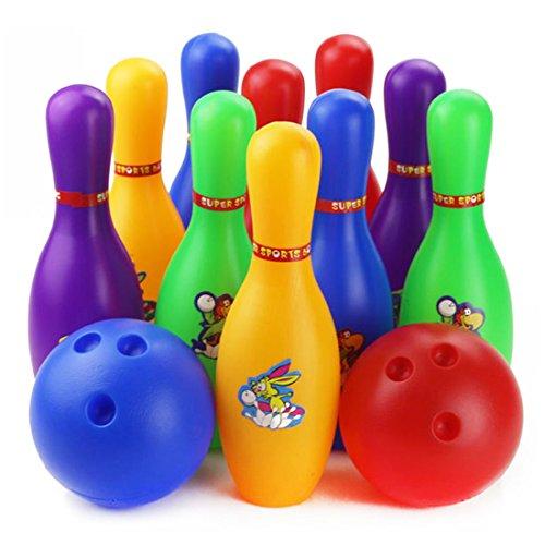 Finer Shop Estándar Colorido Historieta 12 Piezas Bowling Set w 10 Pines, 2 Bolas de Bolos Niños Juguetes Educativos Interior Casero Deporte Al Aire Libre (Grande)