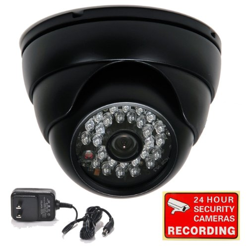 """Videosecu 700Tvl Vandal Armor Ir Outdoor Security Camera Built-In 1/3"""" Sony Effio Ccd Cctv Camera For Dvr Home Surveillance System With Power Supply And Security Warning Decal 1Nt"""
