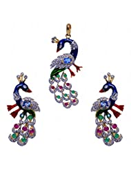 Emerald & Ruby Color Stone Studded Peacock Shape Pendant Set With Enamel Work