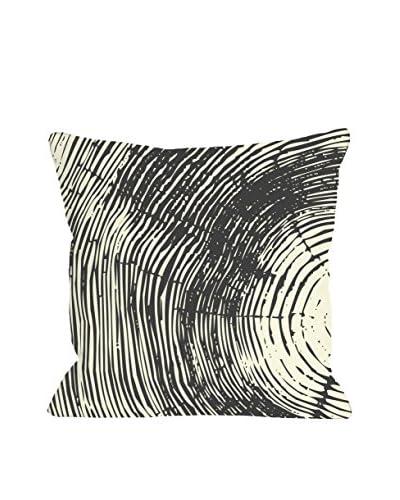 One Bella Casa Tree Rings Pillow, Natural Grey