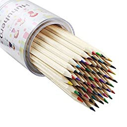 Huhuhero 60 Colored Pencils with 5 Fine Pencils for Artist Sketch Drawing/ Adult Secret Garden Coloring Book/ Kids Artist Writing/ Manga Artwork