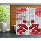 Red Poppies and Bricks Abstract Art Modern Decor Bathroom Valentines Day Decorations for the Home Street Fashion Digital Print Polyester Fabric Shower Curtain