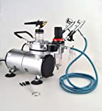New Pro 3 Airbrush & Compressor Kit Dual-Action Air Brush Set with Regulator and Pressure Gauge, Braided Hose, Holder For Art Tattoo Nail