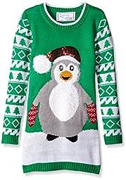 Derek Heart Big Girls\' Penguin Santa Christmas Sweater, Green, Medium
