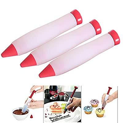 FosFun JS-1112 Silicone Food Writing Pen Chocolate Cake&Pastry Decorating Pen Cake Mold Cream Cup 3 Pcs a Set (red)