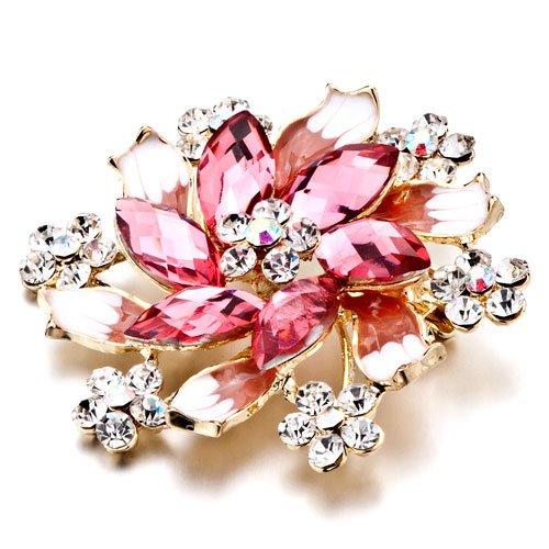 October Birthstone Pink Flower Brooch