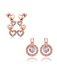 Combo Of Smooth Golden Hearts And Love Lock Ring Austrian Crystal DropEarrings For Girls And Women By YELLOW CHIMES