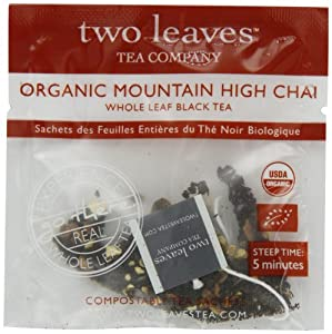 Two Leaves and a Bud Organic Mountain High Chai Black Tea, 100-Count Tea Bags from Two Leaves and a Bud