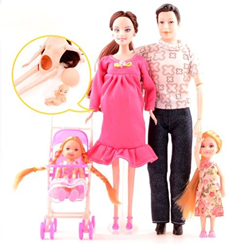Family doll toys 5 People Dolls Suits 1 Mom /1 Dad /2 Little Kelly Girl /1 Baby Son/1 Baby Carriage Real Pregnant Doll