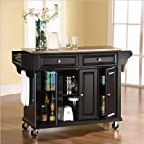 Crosley Furniture Stainless Steel Top Kitchen Cart/Island, Black