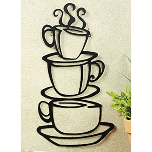 Black Coffee Cup Silhouette Metal Wall Art for Home Decoration, Java Shops, Restaurants, Gifts by Super Z Outlet® (Coffee Cups Kitchen Decor compare prices)
