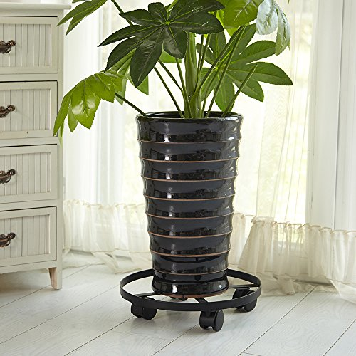 Amagabeli Garden Round Four Rolling Wheels Planters Stand, Plants Caddy, 14 Inch Diameter (Whiskey Barrel Trash Can compare prices)