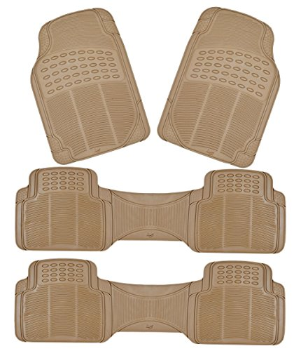 Zento Deals 4 Piece Beige Premium Quality Trimmable All Weather Heavy Duty Rubber Vehicle Floor Mats (Cherry Car Seat Covers For Girls compare prices)