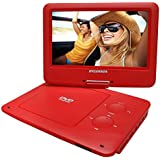 Red : Sylvania 9-Inch Swivel Screen Portable DVD/CD/MP3 Player With 5 Hour Built-In Rechargeable Battery, USB/SD Card Reader, AC/DC Adapter, Red