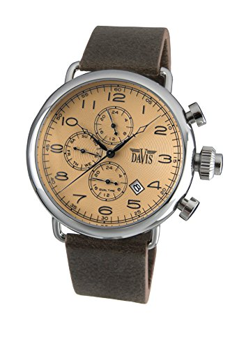 Davis-Mens Retro PILOT Watch- Bronze Dial- Day/Date- Dual Timer -Brown Leather Strap