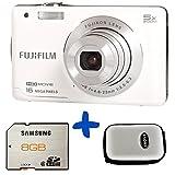 Bundle: Fuji JX660 Digital Camera in White + Samsung SD 8GB + Hard Carry Case (Fujifilm Finepix 16MP, 720p HD video, 5x Optical Zoom, 26mm Wide Lens 2.7