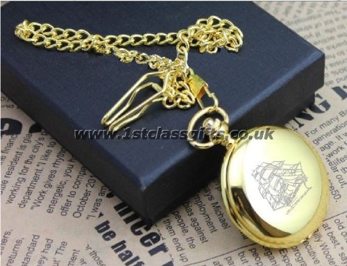 POCKET WATCH SAILING SHIP LOGO PWG8 GOLD CAN BE PERSONALISED ENGRAVED FREE