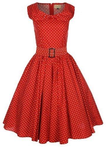 Lindy Bop 'Hetty' Red Polka Dot Bow Shawl Collar Vintage 1950'S Rockabilly Swing Party Dress, Xx-Lar..