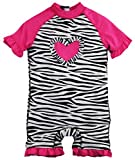 Wippette Baby Girls Zebra Ruffle Heart Once Piece Swim Rash Guard, Black, 9 Months Size: 9 Months Color: Black, Model: , Newborn & Baby Supply