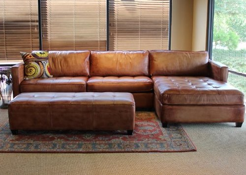 Phoenix 100% Full Aniline Leather Sectional Sofa with Chaise (Vintage Amaretto) 1